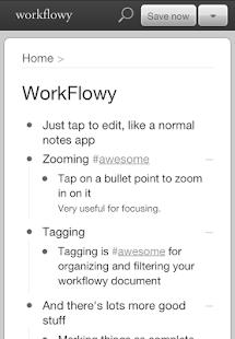 WorkFlowy - náhled