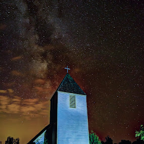 Maple Hill Milky Way by David Johnson - Buildings & Architecture Places of Worship ( church, stars, milky way, cross, nightscape )