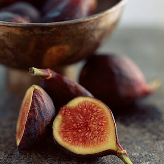 Pan-Seared Figs on Baby Greens with Hazelnuts.
