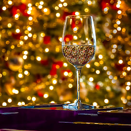 Glass Of Cheer by Karen Celella - Public Holidays Christmas ( festive, piano+, champagne, cheer, colors, green, christmas, mood, lights, holiday, hanukkah, red, champagne glasses, tree, lighting, blue, kwanzaa, tis the season, wine glass, glass, artifical, celebrate, light, black, mood factory )