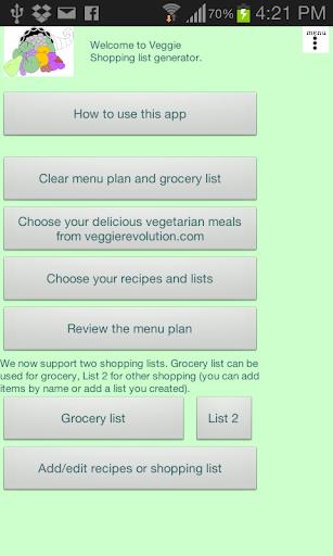Veggie Shopping list generator