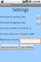 Screenshot of Carrier Info