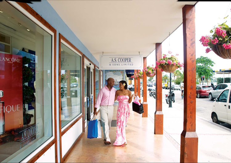 Enjoy an afternoon shopping on the main drag of Front Street in Hamilton, Bermuda.