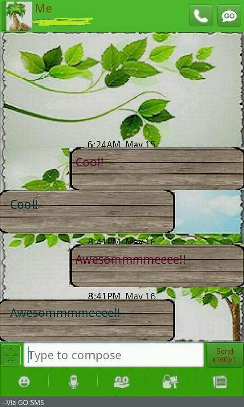 GO SMS THEME/springleaves - screenshot