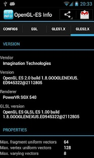 OpenGL-ES Info - screenshot thumbnail