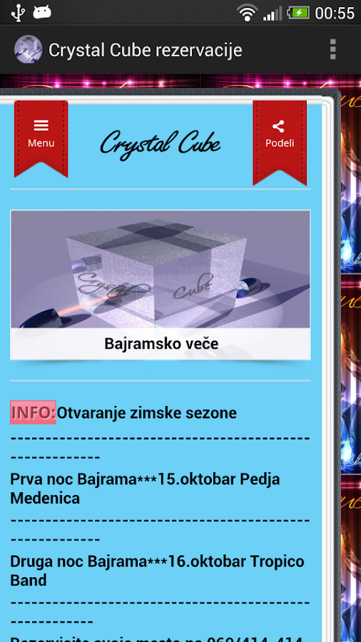 Crystal Cube rezervacije - screenshot