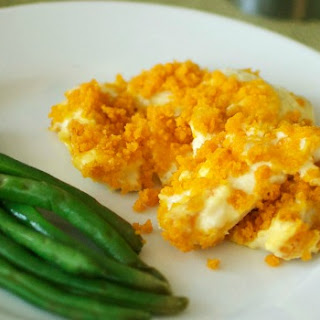 Easy Chicken Casserole with Goldfish Cracker Topping.