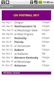 LSU Football Schedule - screenshot thumbnail