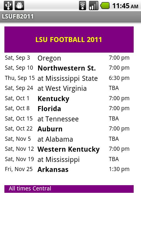 LSU Football Schedule - screenshot