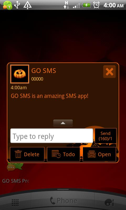 GO SMS Pro Halloween theme - screenshot