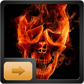 3D Fire Skull Go Locker Theme