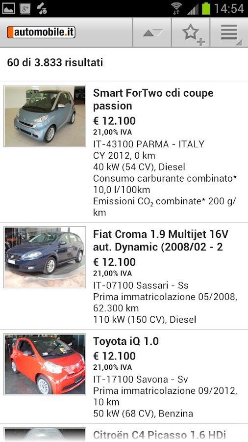automobile.it - annunci auto - screenshot