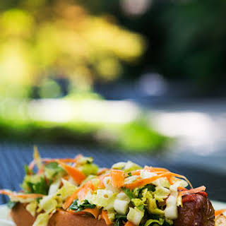 Hot Dogs with Sriracha and Asian Slaw.