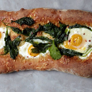 Mustard Greens, Cheddar And Farm Egg Breakfast Pizza