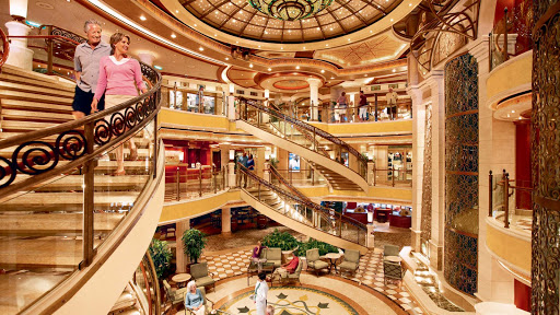 Princess-Cruises-piazza-style-atrium-4 - Look for a grand piazza-style atrium featuring beautiful spiral staircases and several dining options on your Princess ship.