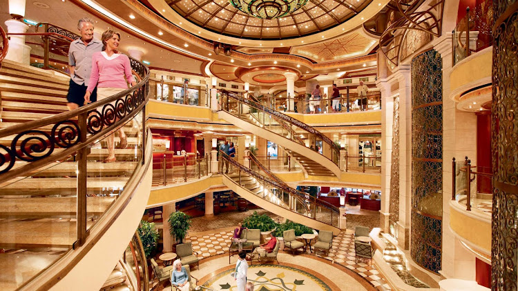 Look for a grand piazza-style atrium featuring beautiful spiral staircases and several dining options on your Princess ship.