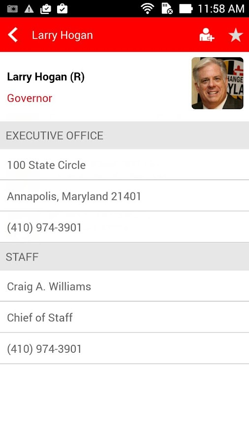 Maryland Government Directory- screenshot