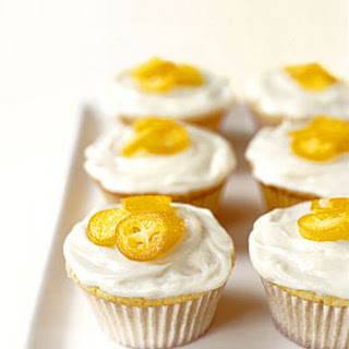 White Chocolate Cupcakes with Candied Kumquats.
