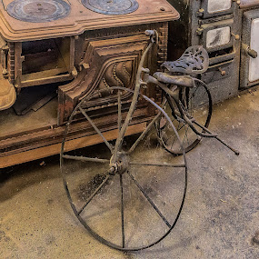 Bike by Vibeke Friis - Artistic Objects Antiques ( stove, old bike, rusty, antique, cobwebs,  )