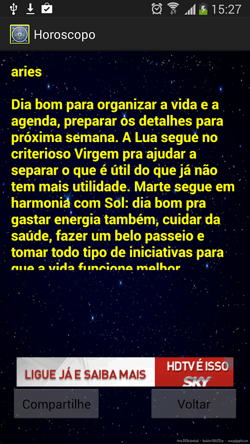 Horoscopo: captura de tela