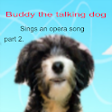 dog sings Italian opera song logo