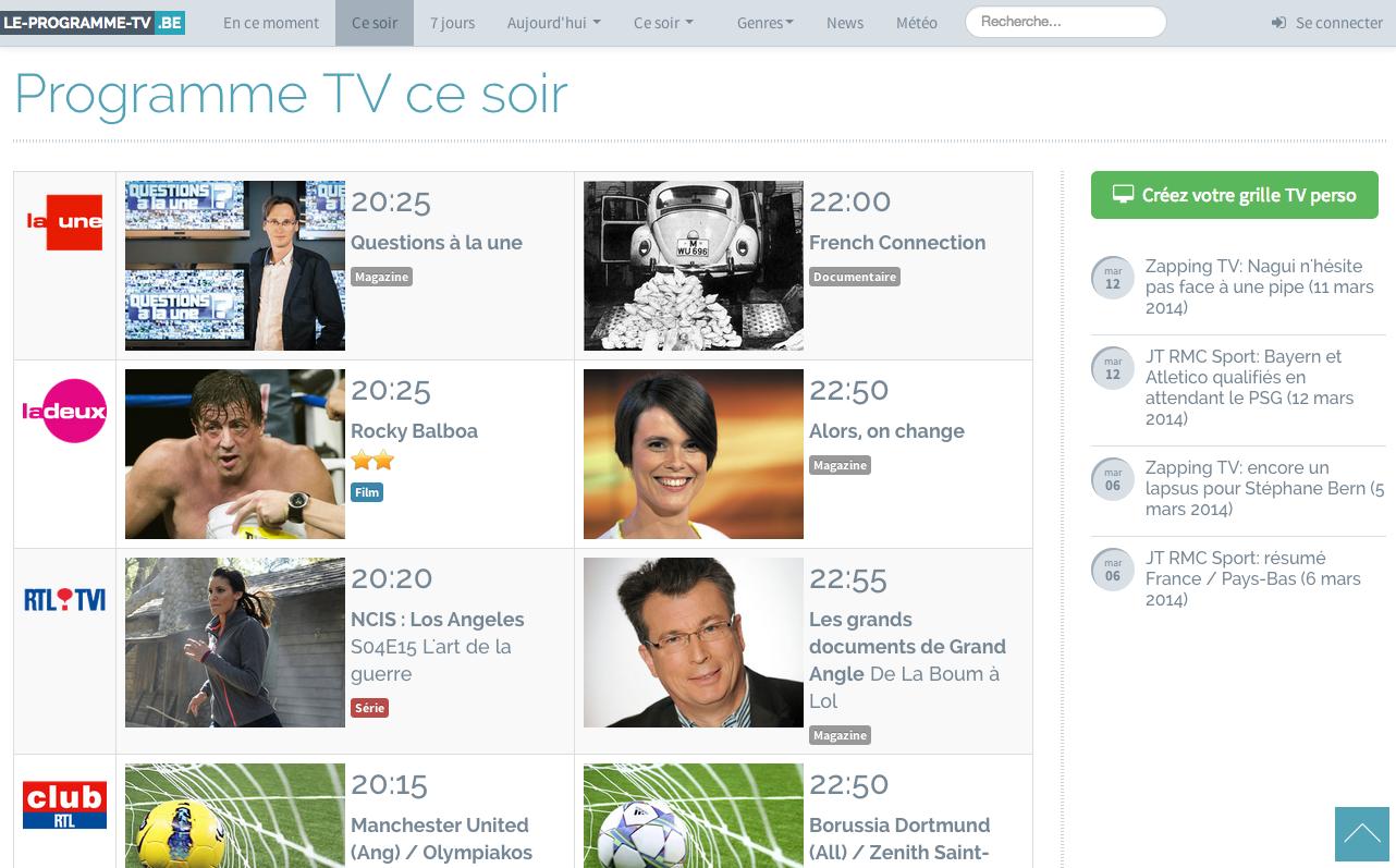 programme tv france et belgique