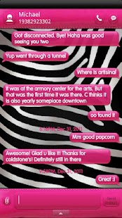 B&W Zebra PINK GO SMS Theme - screenshot thumbnail
