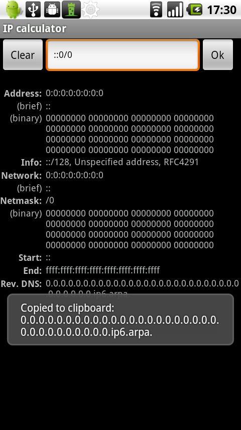 IP calculator (Samsung) - deprecated- screenshot