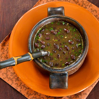 Spicy Vegan Black Bean Soup with Cilantro and Green Tabasco Recipe