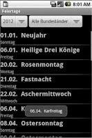 Screenshot of Feiertage