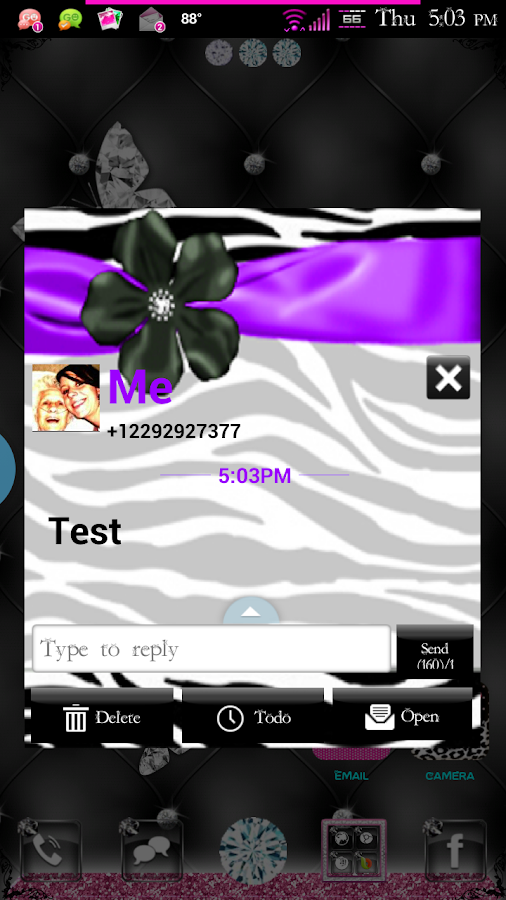 Zebra Passion GO SMS Pro Theme - screenshot