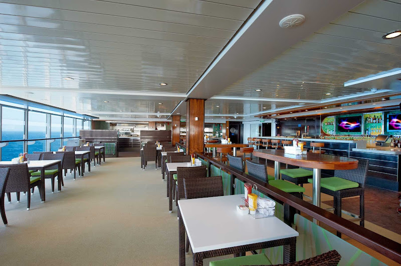 The Uptown Bar & Grill on deck 16 of Norwegian Breakaway is known for sumptuous buffets and a great view of the ocean.