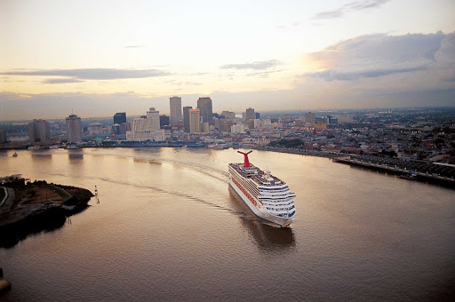 Carnival-Conquest-New-Orleans-2 - Carnival Conquest cruises through New Orleans.