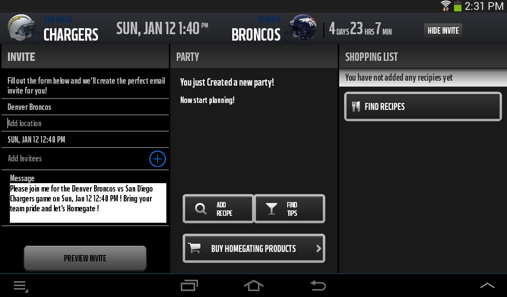 NFL Homegating - screenshot