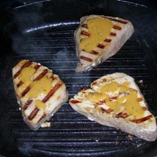 Grilled Tuna Steaks with Dill Sauce.