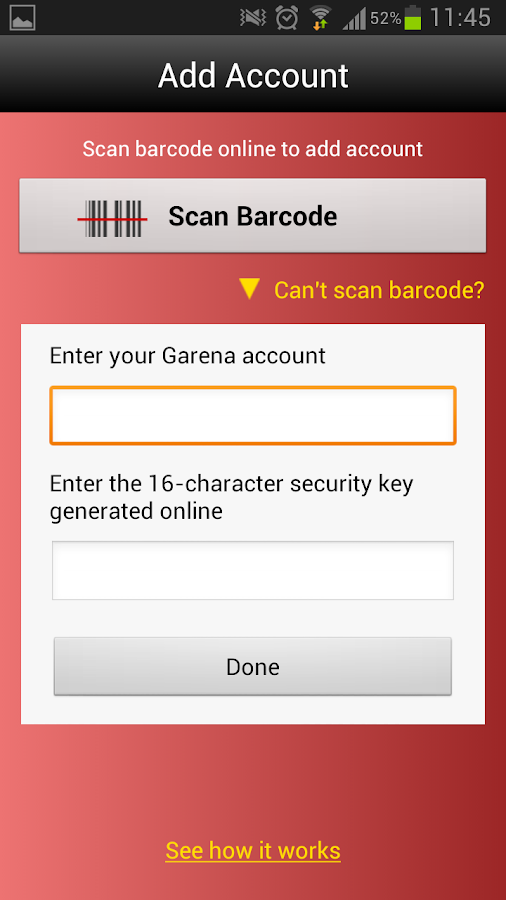 Garena Authenticator- screenshot