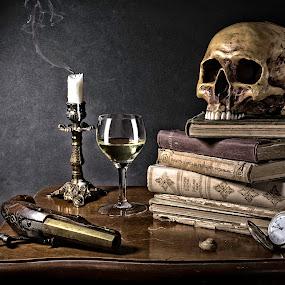Vanitas by Ingrid Krammer - Artistic Objects Still Life ( wine, candle, vanitas, clock, death, still life, book, ingridworks, table top, gun )