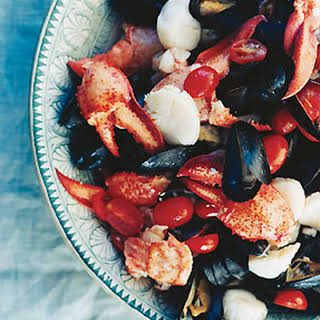 Lobster, Scallops, and Mussels with Tomato Garlic Vinaigrette.