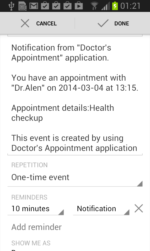 Doctor Appointment Lite - screenshot