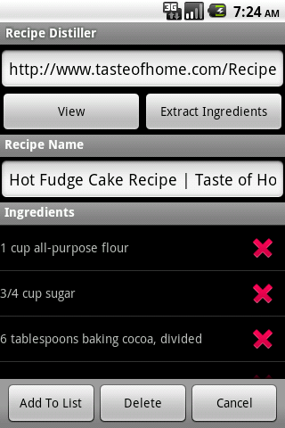 Recipe Distiller- screenshot