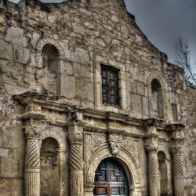 Remembering by Barry Blaisdell - Buildings & Architecture Public & Historical ( building, alamo, old, texas, san antonio, door, stone, old door, mission, missionary, wood door, historical, spanish mission,  )