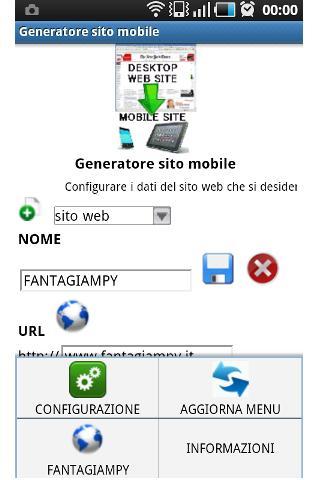 Mobile site generator- screenshot