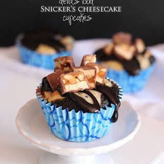 Devils Food Snickers Cheesecake Cupcakes.