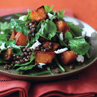 Spiced Pumpkin, Lentil, and Goat Cheese Salad.