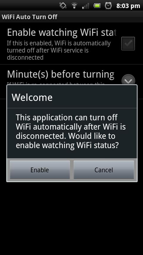 WiFi Auto Turn Off - screenshot