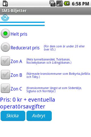 SMS-Biljetter - screenshot