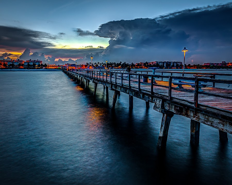 The Public Fishing Pier in Lauderdale-by-the-Sea by Alexis Travkin - Buildings & Architecture Public & Historical ( , Lighting, moods, mood lighting, bridge, Urban, City, Lifestyle )