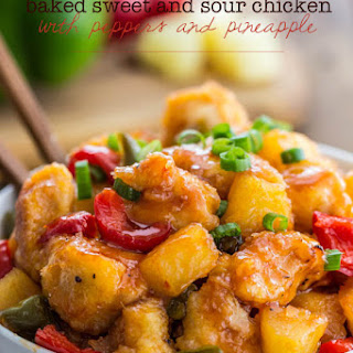 Baked Sweet and Sour Chicken with Peppers and Pineapple.