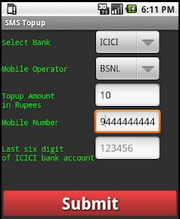SMS topup screenshot