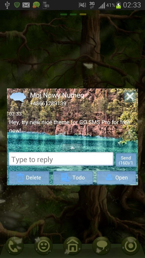 GO SMS Theme Lake Mountains- screenshot